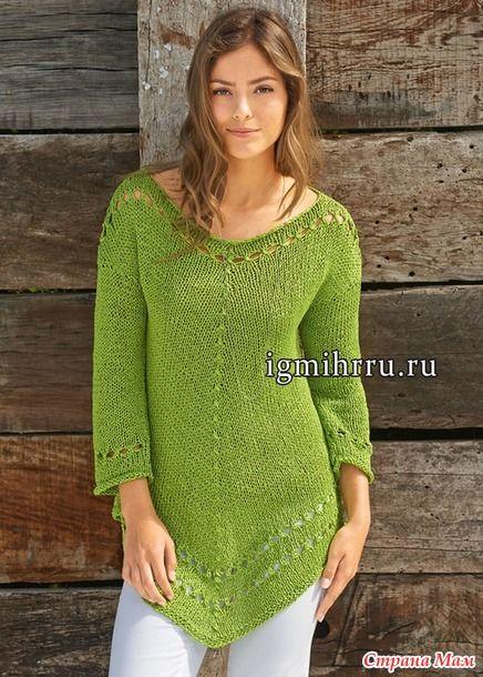 Размеры (европейские): 36/38 (40/42)  Размеры (российские): 42/44 (46/48)  Вам потребуется: 500 (550) г жёлто-зелёной (цв.