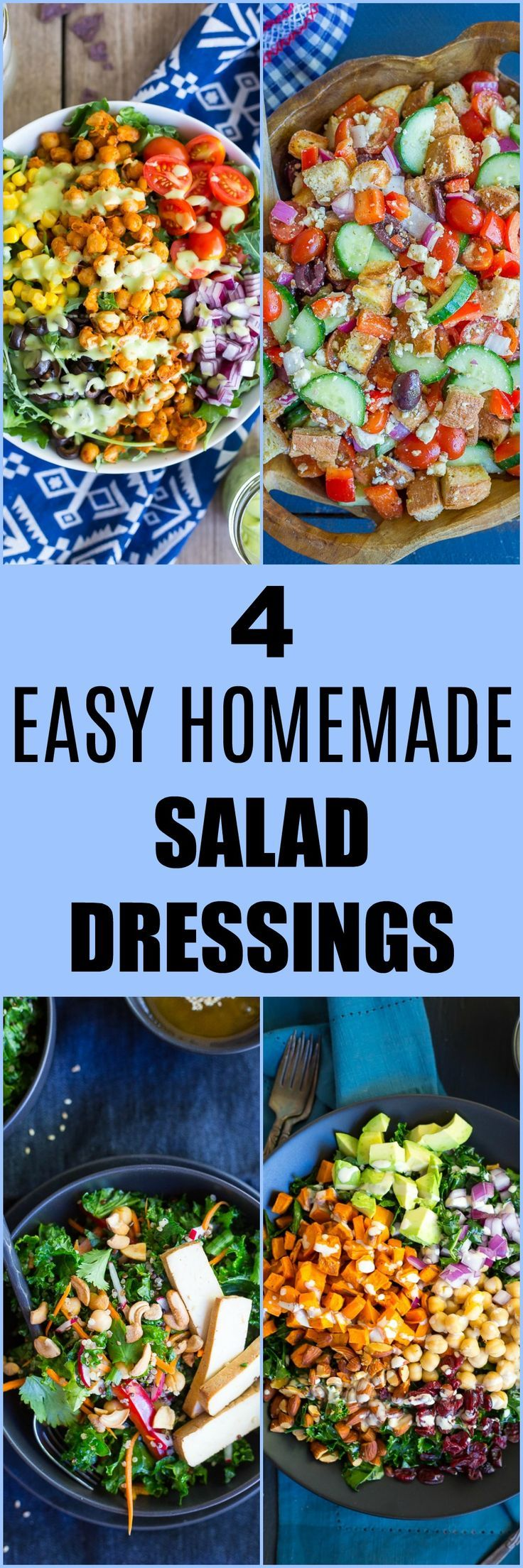 These 4 Easy Homemade Salad Dressing Recipes are much healthier than the store-bought kind!  You only need a few ingredients and they're great for salads or dips!  They're all vegan and gluten free! #condiments #glutenfree #vegan #homemade #healthy #salads