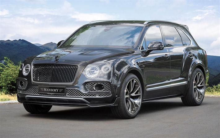 Indir duvar kağıdı Mansory, tuning, Bentley Bentayga, SUV, 2017 arabalar, lüks arabalar, Bentley