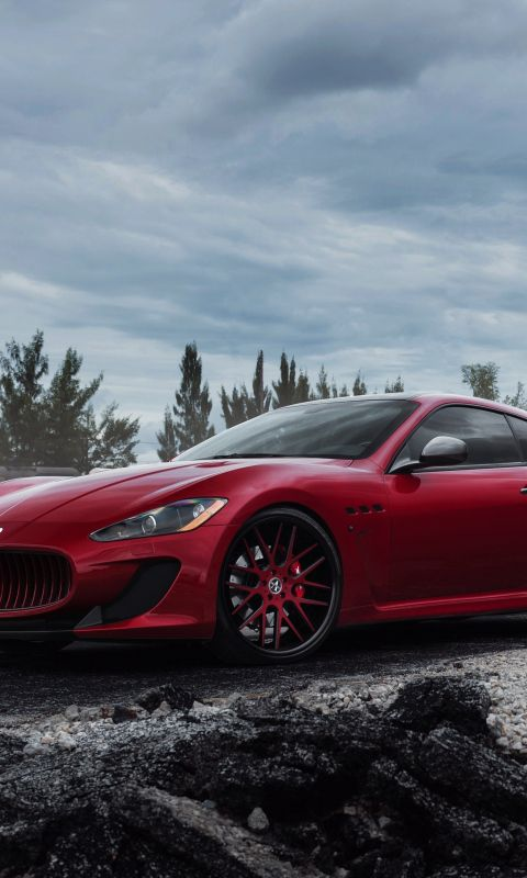 Download Wallpaper 480x800 Maserati, Granturismo, Mc, Red, Side view HTC, Samsung Galaxy S2/2, Ace 480x800 HD Background