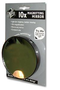 Косметическое зеркало Rio с 10х увеличением и подсветкой