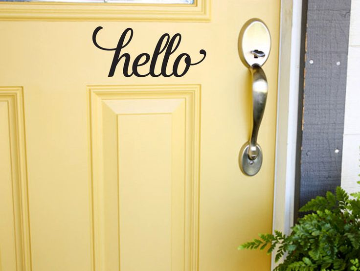 Front Door Decal, Personalized Decal, Custom Vinyl Lettering, Hello Vinyl Decal for Door, Wall Art by OlySignCo on Etsy https://www.etsy.com/listing/251150730/front-door-decal-personalized-decal