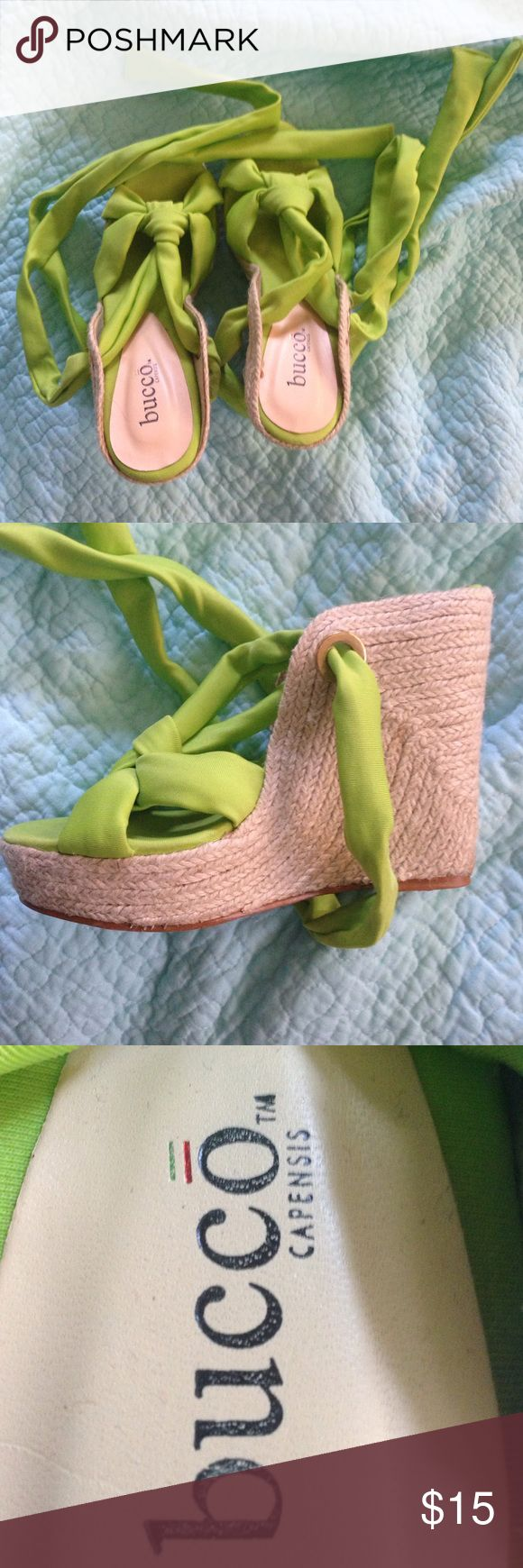 Bucco Capensis Lime Green Wedges Lime Green strappy wedges that tie up the ankle. Only worn once or twice. Goes great with a summery outfit! Offers are more than welcome! bucco capensis Shoes Wedges