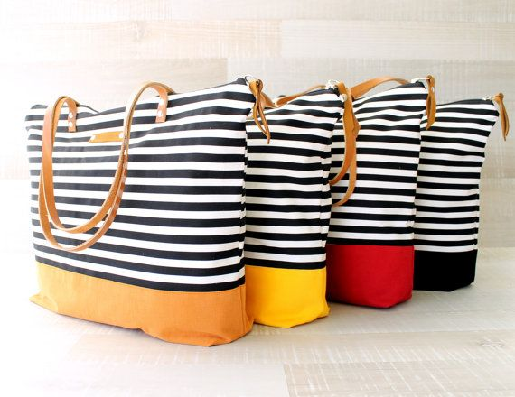 Stripe Tote Bag EXPRESS SHIPPING Diaper Bag Leather by bayanhippo