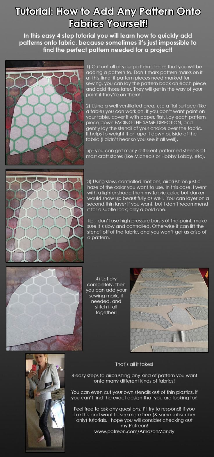 New tutorial: Airbrushing decorative patterns onto fabrics! FULL SIZE ON FACEBOOK An affordable and easy way to add patterns to fabrics when you can't find the perfect fabric! I used this on the next...