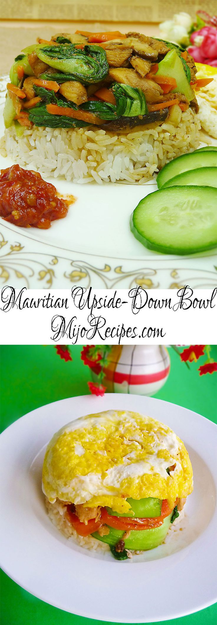 {Mauritian Recipes} Mauritian Bol Renverse is a very popular Mauritian Chinese recipe. It is like layered rice with vegetables and meat on top, and a fried egg on top! #foodie #yum #nomnomnom