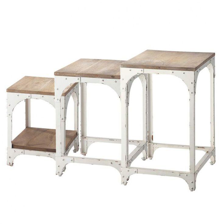 3 tavolini bianchi da salotto estraibili in metallo L 55 cm Arcachon