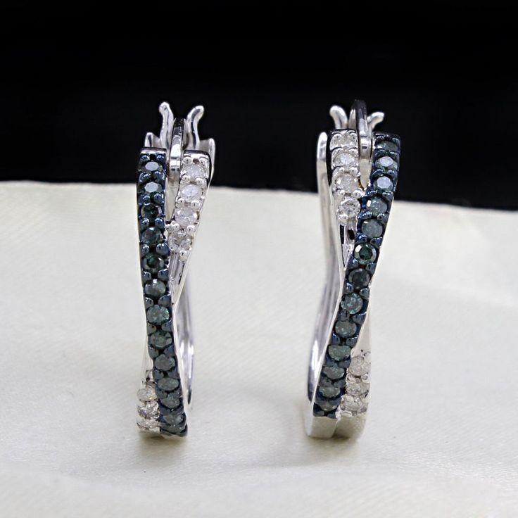 1/2ct Blue and white Genuine Diamond Hoop Earrings X Crossover Silver 925 #jpjewels8 #Hoop