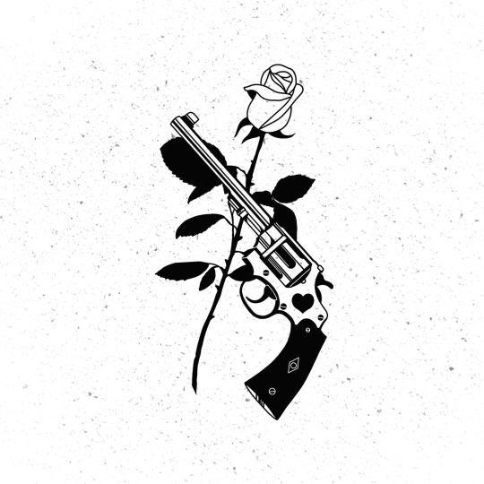 Cool Gun and Rose Tattoos For Women