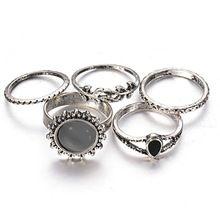 Inner Dia 16 mm - 17.5 mm conjunto de 5 boi antigo forma de folha de prata Retro Vintage Opal pedra anéis Set para as mulheres 2015 moda jóias(China (Mainland))