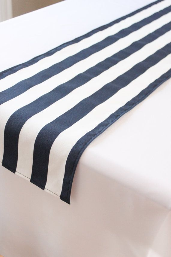 Navy and white striped table runner  Wedding by ReneeAlanDesigns