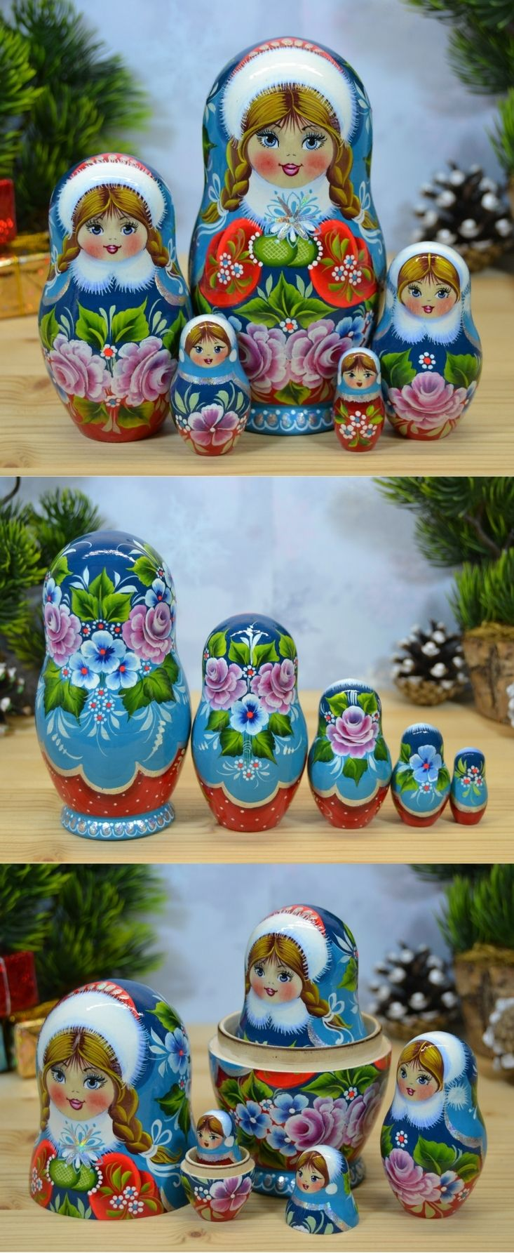 Russian babushka doll in blue  and red winter attire, hand painted by artist Valentina Partanen. Find more lovely nesting dolls at: www.bestrussiandolls.etsy.com
