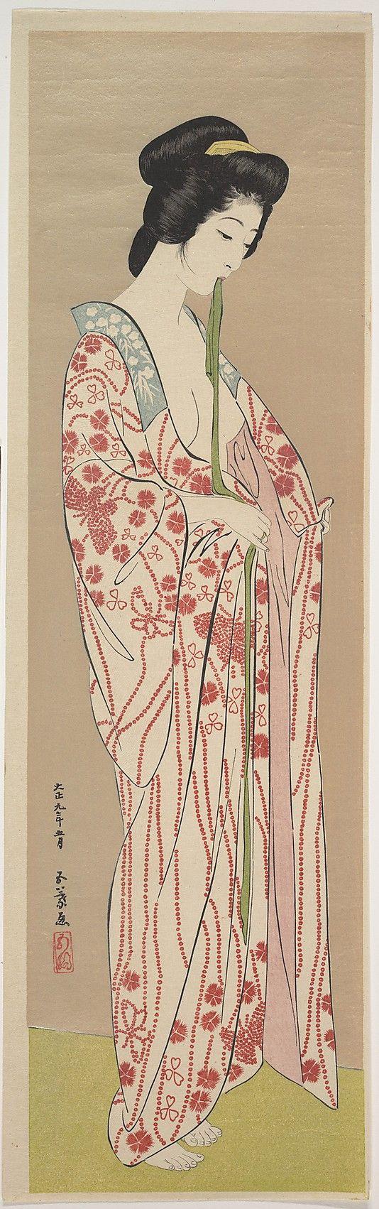 Woman Dressing, by artistHashiguchi Goyô, circa 1920, Japan. Ukiyo-ePolychrome woodblock print; ink and color on paper
