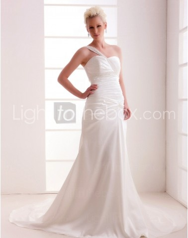 One Shoulder Court Train Lace-up Sheath/Column Wedding Dresses With Beading Draped Ruched