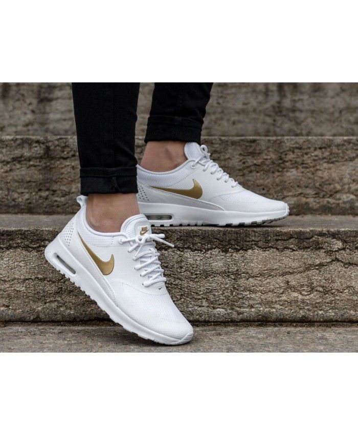nike air max thea gold and white