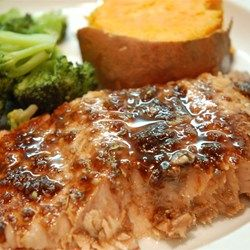 "Balsamic-Glazed Salmon Fillets Allrecipes.com (837 reviews..41/2 stars)  """"A glaze featuring balsamic vinegar, garlic, honey, white wine and Dijon mustard makes baked salmon fillets extraordinary."""""