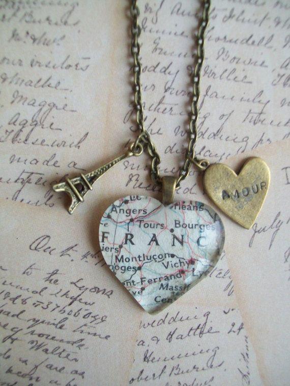 1950's map necklace Paris France Eiffel tower  by NoTwoTheSame, $14.00