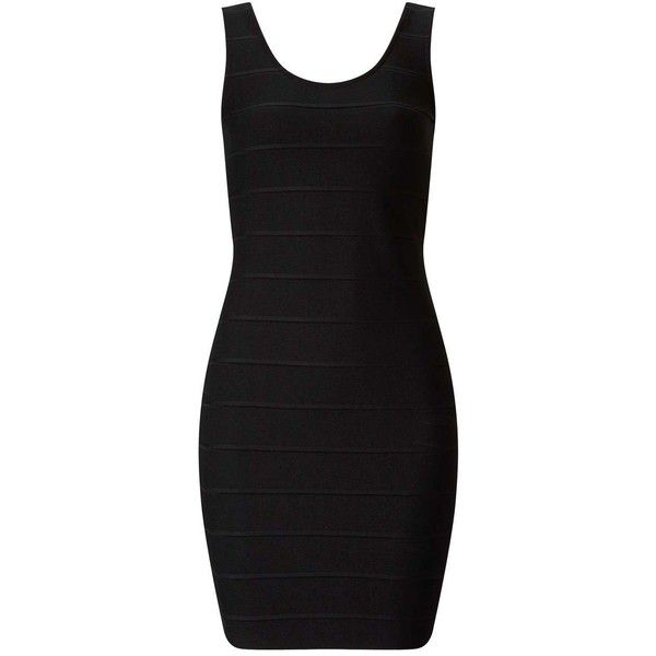 Miss Selfridge Black Bandage Bodycon Dress (48 MYR) ❤ liked on Polyvore featuring dresses, black, bodycon dress, body con dresses, miss selfridge dress, scoop neckline dress and scoop neck dress