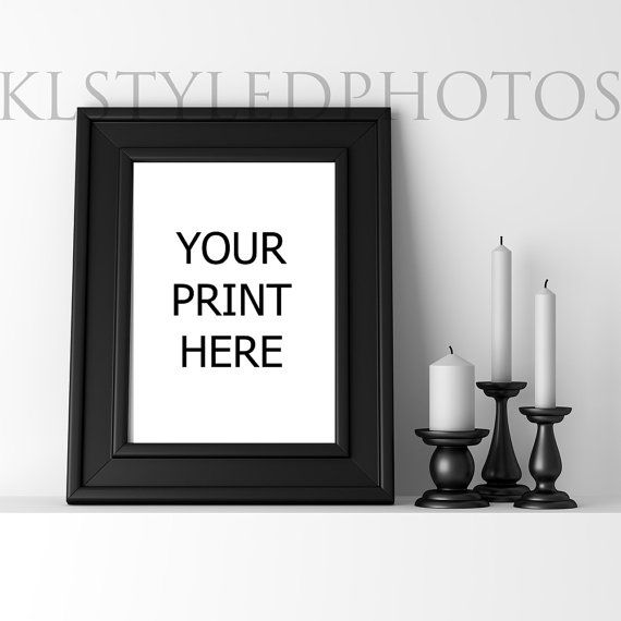 Black Display EMPTY Frame/ Candles /White wall/ by KLStyledPhotos