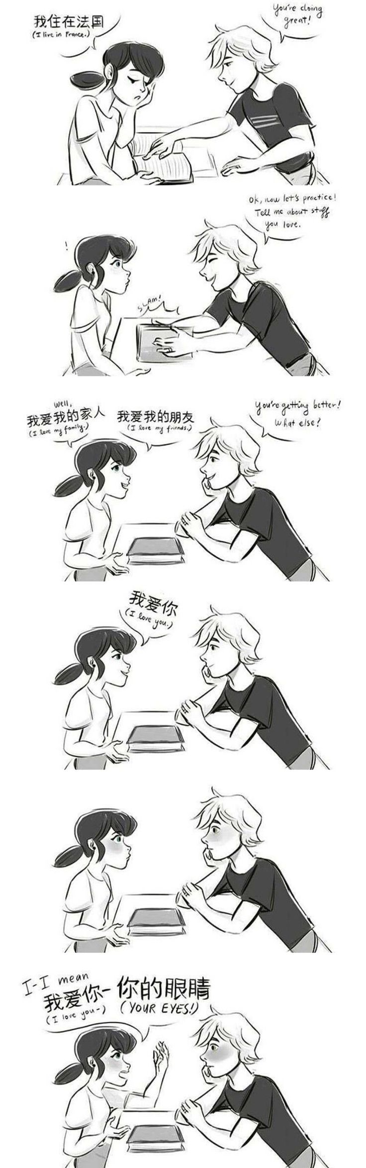 Marinette practicing Chinese with Adrien....what could go wrong - Miraculous Tales of Ladybug and Chat Noir