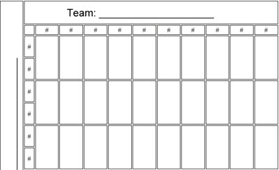 50 squares NFL Football Pool Printable Template Office