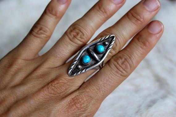 Vintage anillo turquesa / / anillo de turquesa en forma de