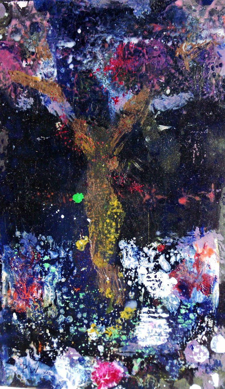 "The Magic Tree. Oli on card. 5 1/2"" x 4 3/4"". ..Philip Weaver"