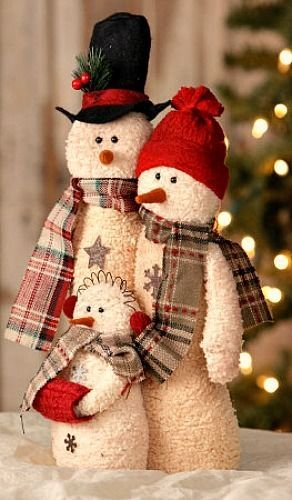"""New Country Primitive Rustic SNOWMAN COUPLE FAMILY Standing 15"""" Tall"""