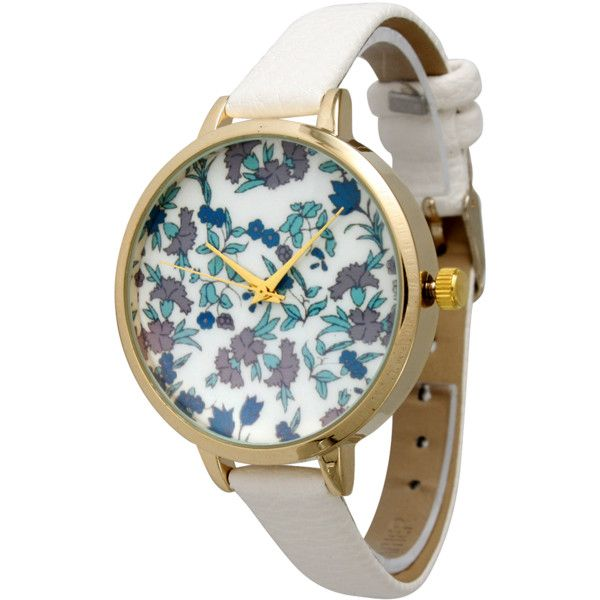 Olivia Pratt Dainty Floral Skinny Leather Band Watch (372989502) (1,725 INR) ❤ liked on Polyvore featuring jewelry, watches, accessories, white, floral jewelry, leather-strap watches, white strap watches, white leather band watches and floral watches