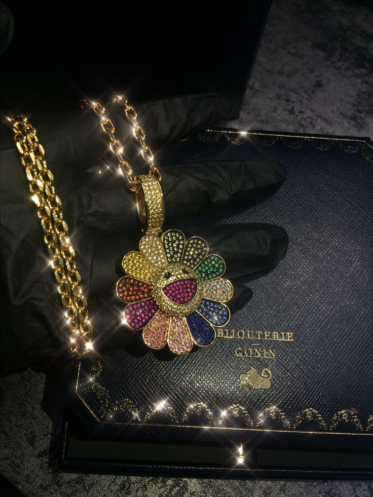 Murakami flower diamond fidget spinner pendant & necklace