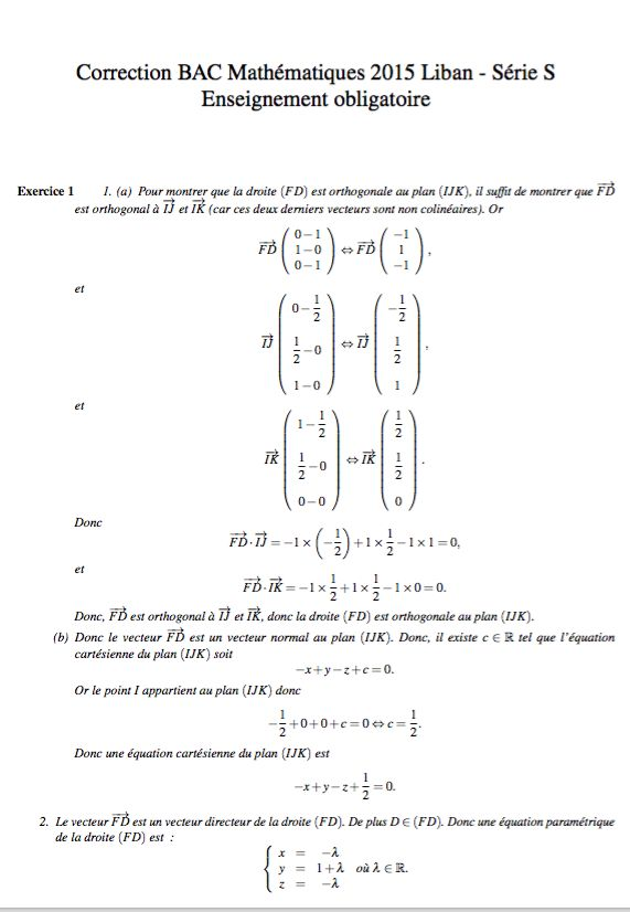 Corrigé bac S Maths - Liban 2015