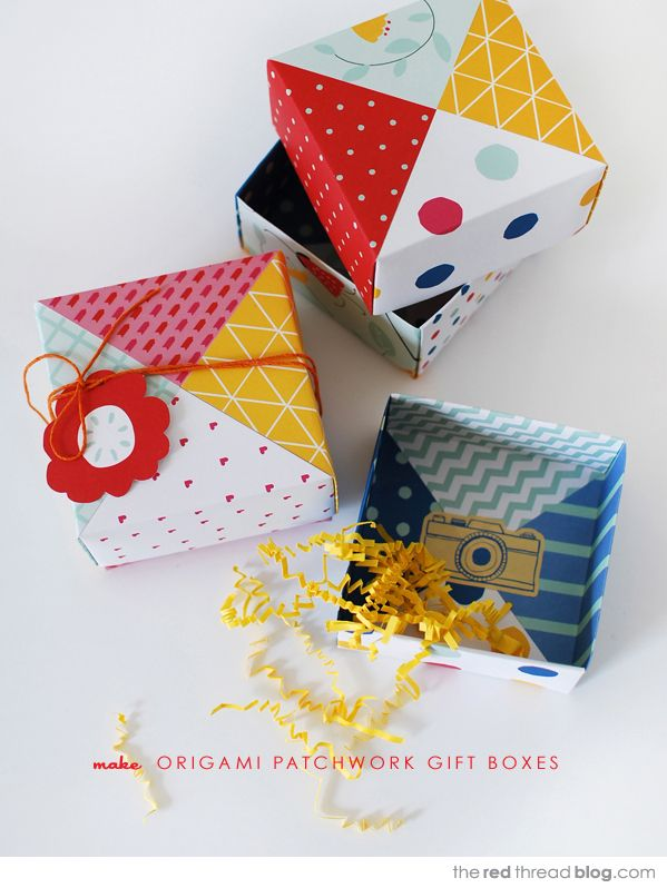 the red thread patchwork origami boxes DIY