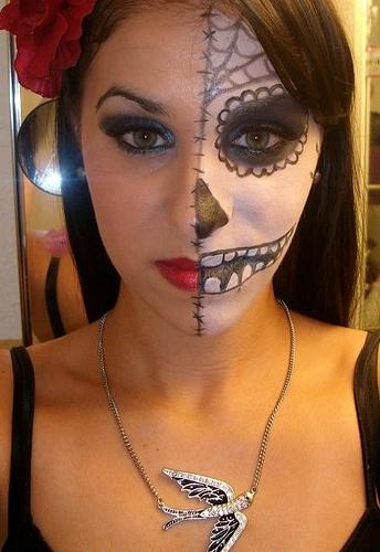 sugar skull half face