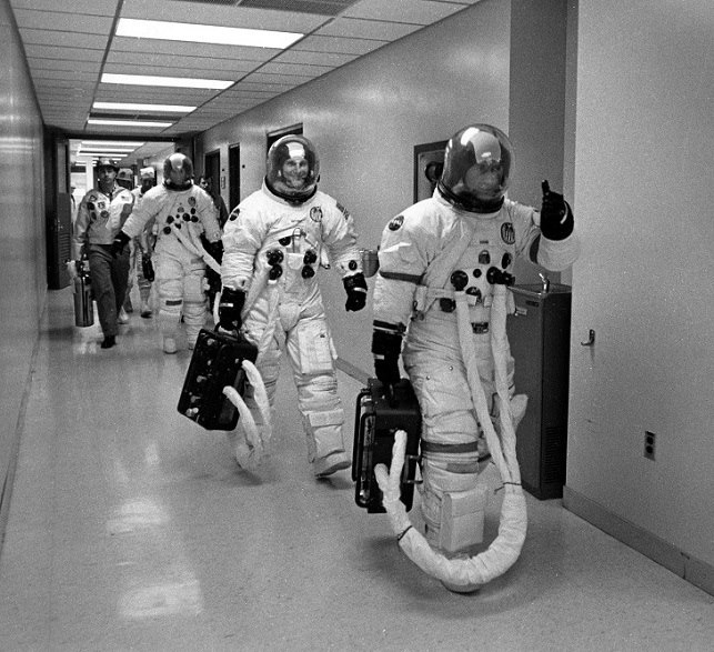 Remembering Apollo 16 - Astronauts John Young, Ken Mattingly and Charlie Duke prepare to depart their crew quarters at Kennedy Space Center prior to launching to the Moon. This Date in 1972. www.Retro Space Images.com