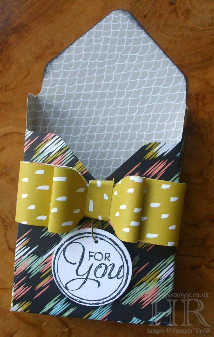 Envelope Punch Board tutorial for this darling little treat box and bow