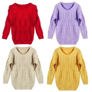 Women Lady Retro Warm Round Neck Knitted Pullover Jumper Loose Sweater