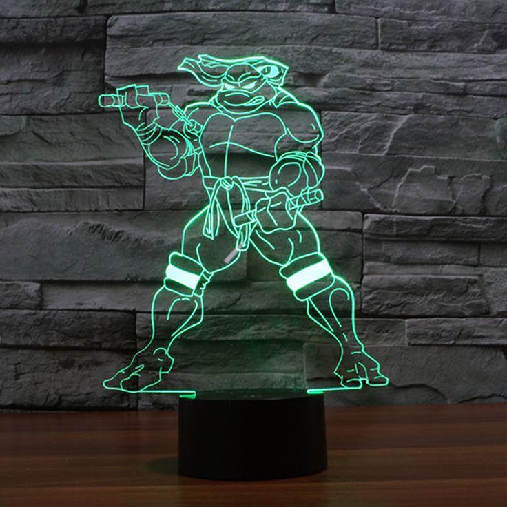 3D Cartoon Figure Mutant Ninja Turtles Nunchakus lamp 7 Colors Change Night Light USB LED Cool Boy Bedroom Decor Kids toys blub #Affiliate