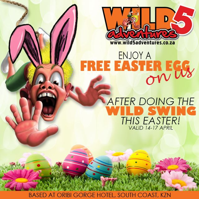 #Free #Eastereggs to everyone who does the #WildSwing TCs valid all day 14-17 April #BraggingRights #KZNSouthCoast #Celebrate