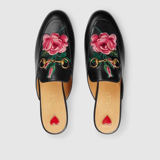 GUCCI Princetown leather slipper, rose floral patch — obsessed with these shoes!