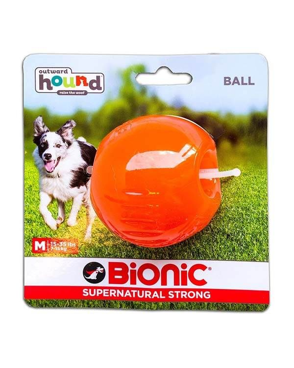 Outward Hound Bionic Opaque Ball Toy Medium Orange Dog Toys