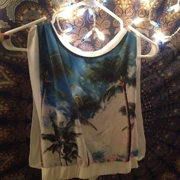 tank top foreign exchange tank top with palm trees. i bought this & never wore it ever, so its technically like brand new Foreign Exchange Tops Tank Tops