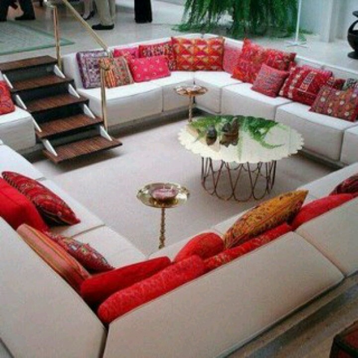 Walk down into the sofa pit: Idea, Couch, Seats Area, Sunken Living Rooms, Conver Pit, Converse Pit, House, Games Night, Sit Area