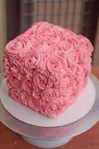 Swirl Rose Box Cake - not a recipe but a video of how to make this design.