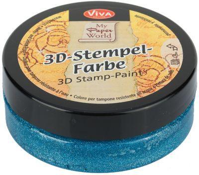 """3D-Stempelfarbe+""""hellblau-metallic"""",+50+ml € 5,50"""