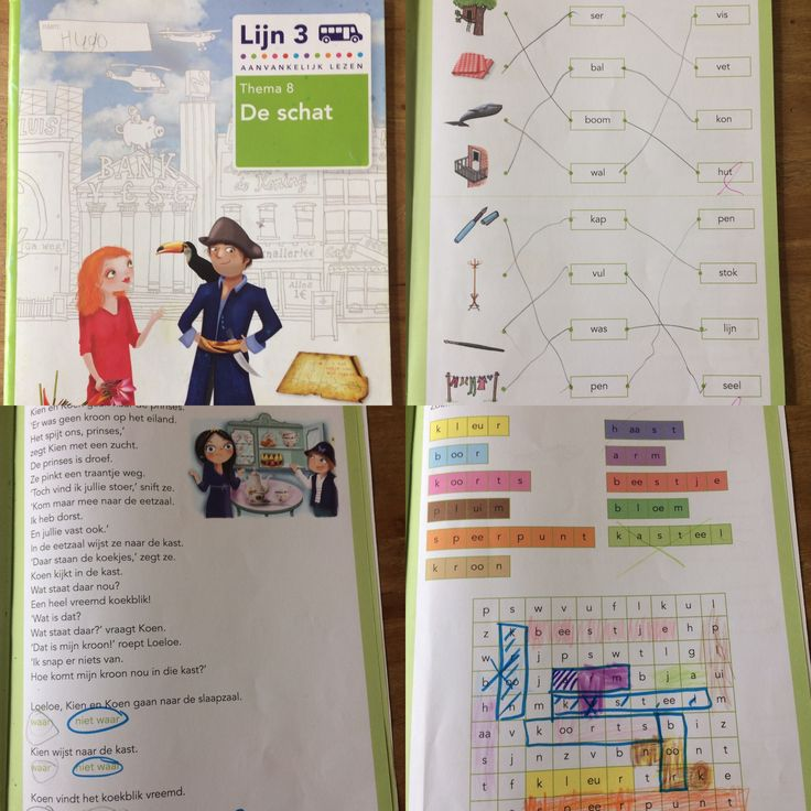 Hugo, 1e klas, werkboek thema 8 van leesmethode 'lijn 3'. Maart-april 2017