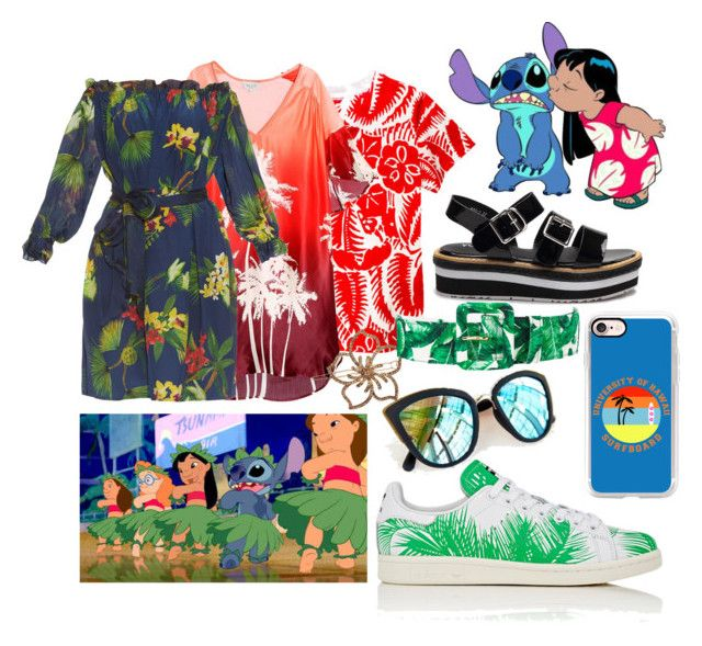 """Lilo and Stitch"" by amywillson on Polyvore featuring Paul & Joe, adidas, Isolda, Quay, L. Erickson, Casetify and Dolce&Gabbana"