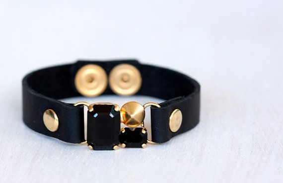 Black leather bracelet with a Swarovsky by ShaniJacobiJewellery