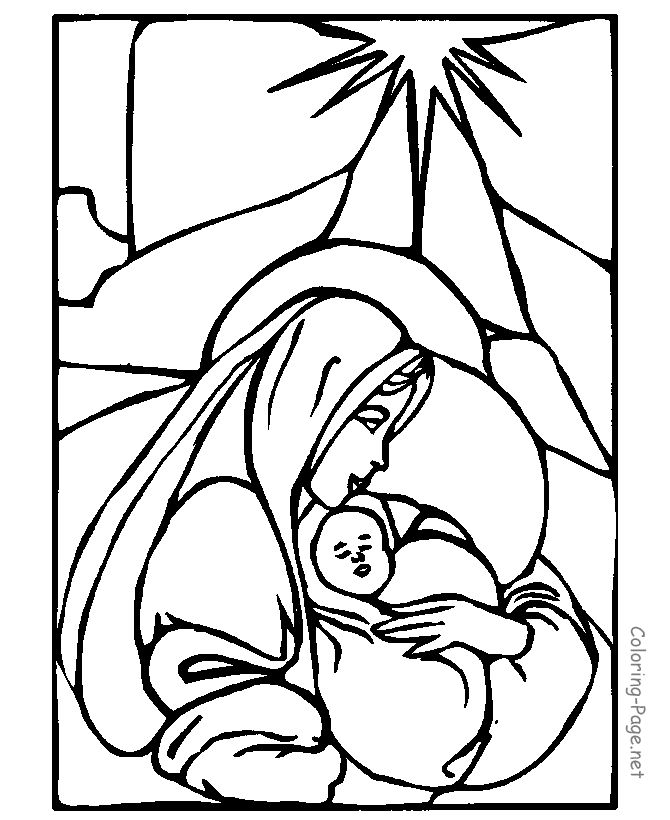 Mary And Jesus Coloring Page Christmas