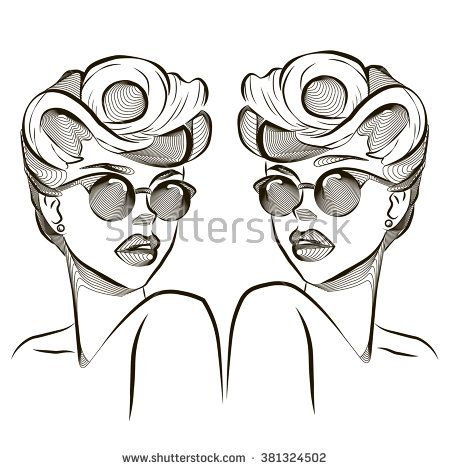 Vintage girl with curly hairs and sunglasses. Pinup. Twins. Vector illustration.  - stock vector