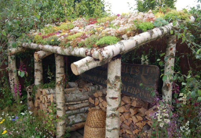 So easy to do!: Gardens Ideas, Chicken Coops, Gardens Houses, Green Roof, Wood Sheds, Roof Gardens, Wood Stove, Firewood Storage, Living Roof